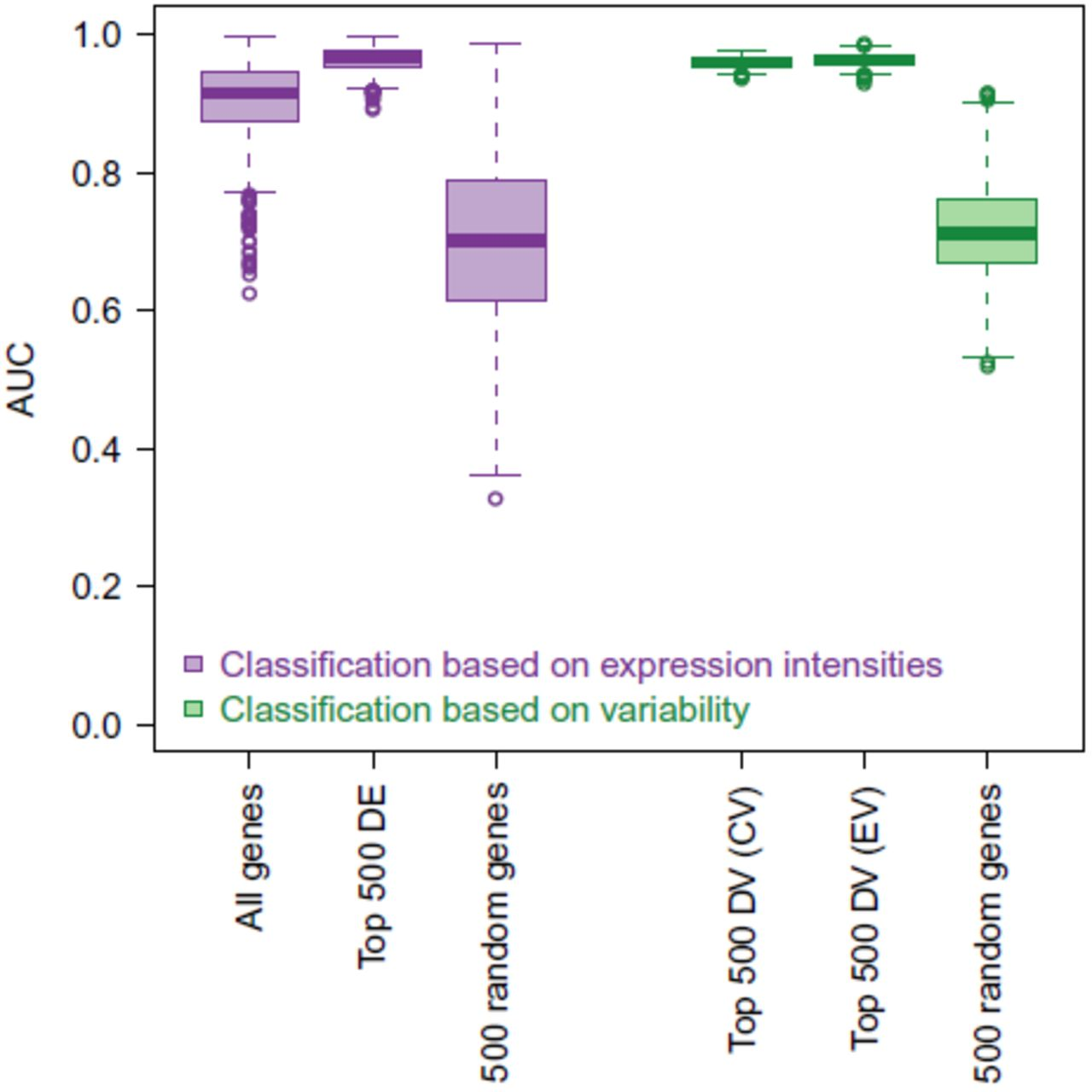 Higher gene expression variability in the more aggressive subtype of