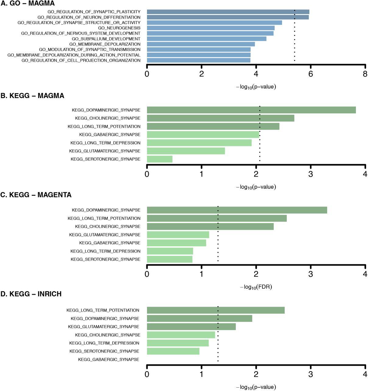 Comprehensive pathway analyses of schizophrenia risk loci