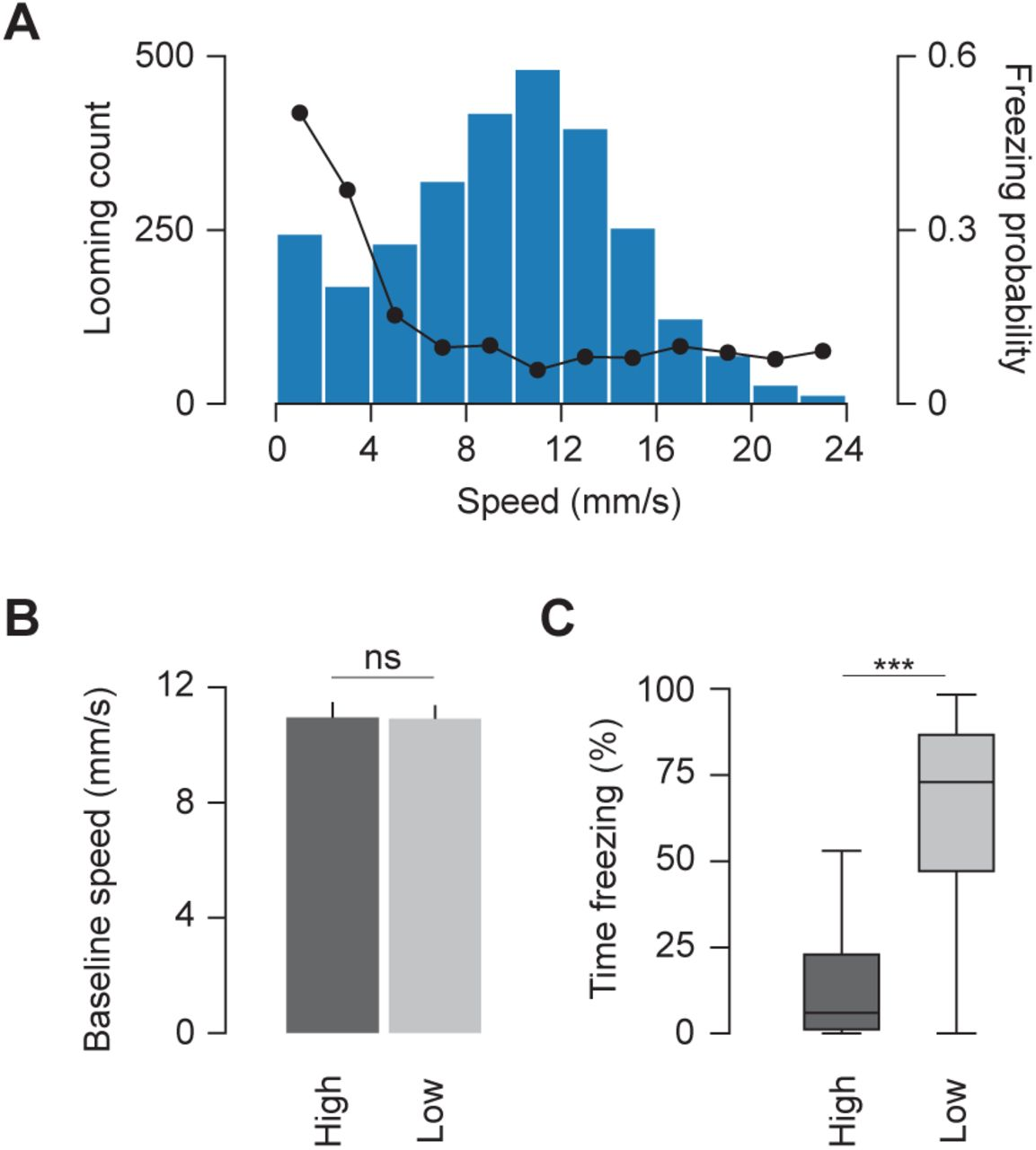 Speed dependent descending control of innate freezing behavior in