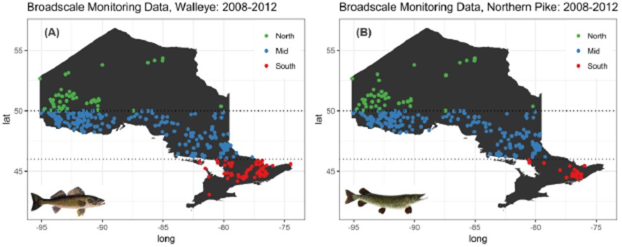 Broad-scale mercury bioaccumulation patterns in two
