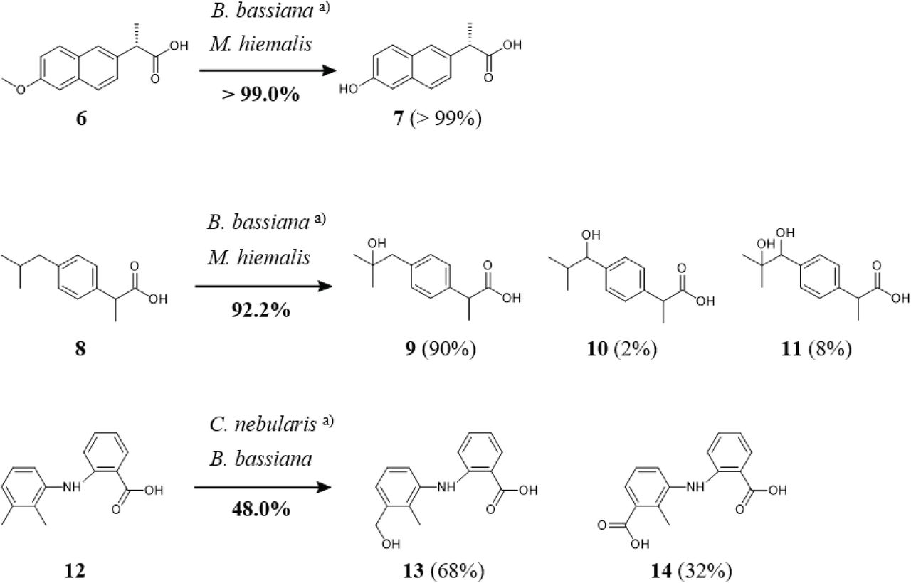 Synthesis of oxyfunctionalized NSAID metabolites by microbial
