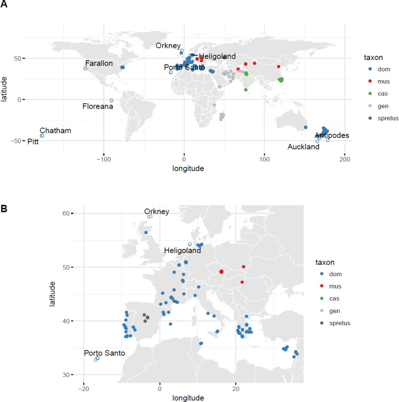 Genetic characterization of invasive house mouse populations on