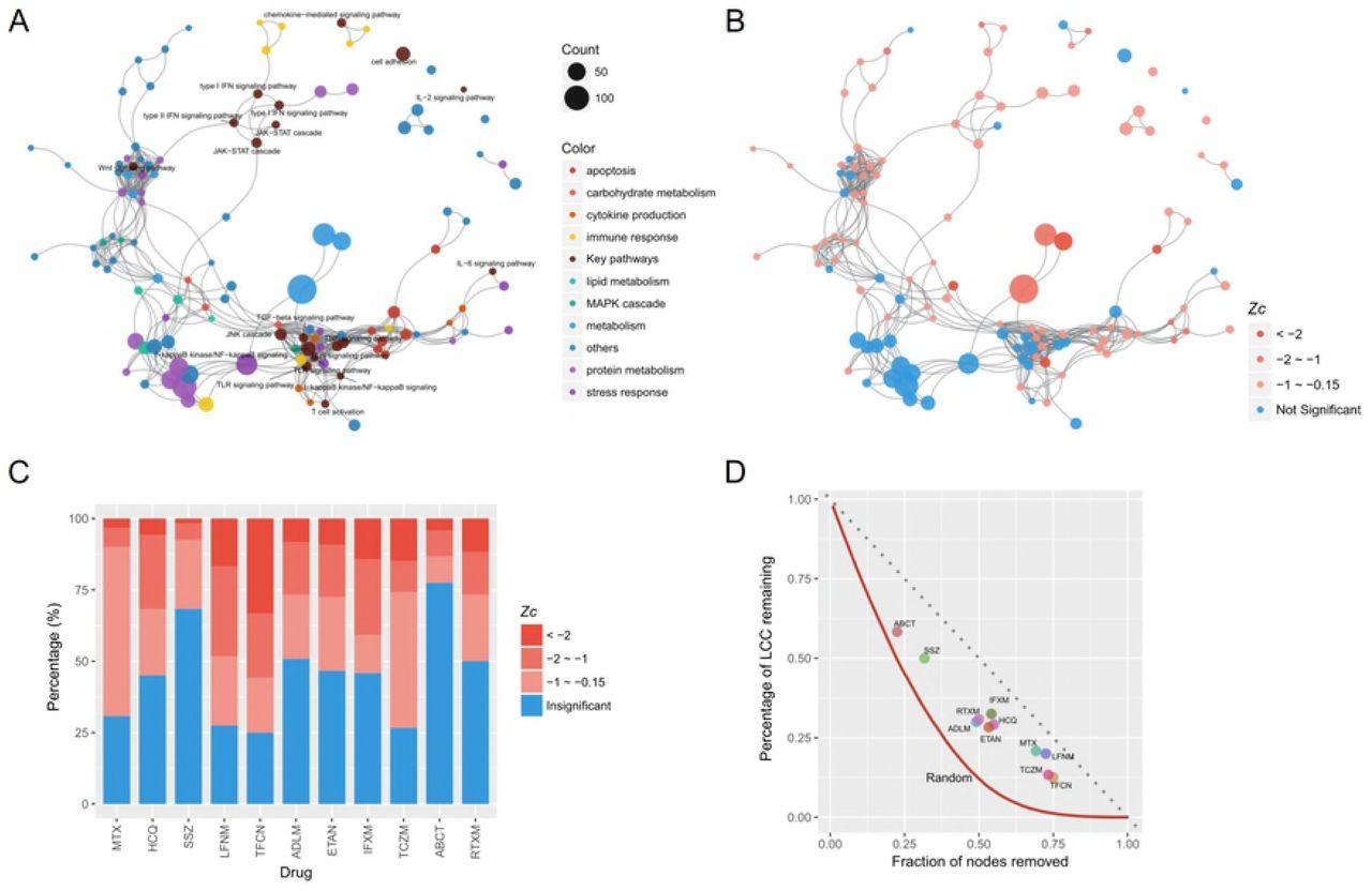 A network-based model for drug repurposing in Rheumatoid
