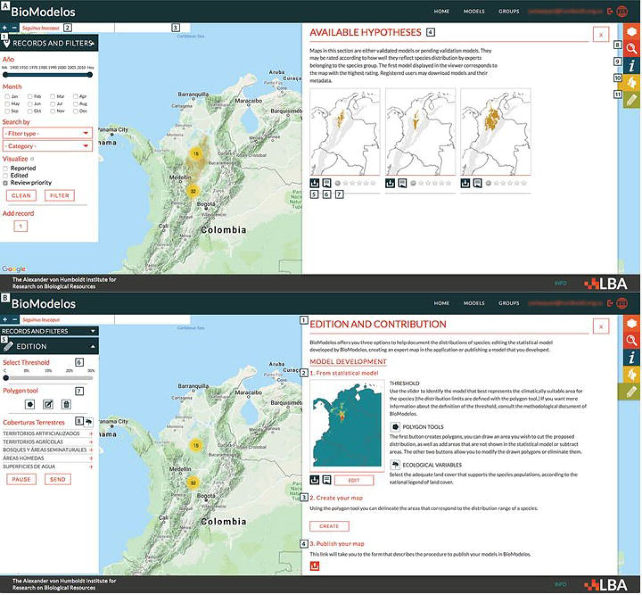 BioModelos: a collaborative online system to map species