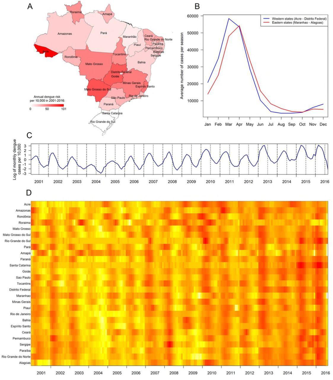 Spatio-temporal dynamics of dengue in Brazil: seasonal travelling