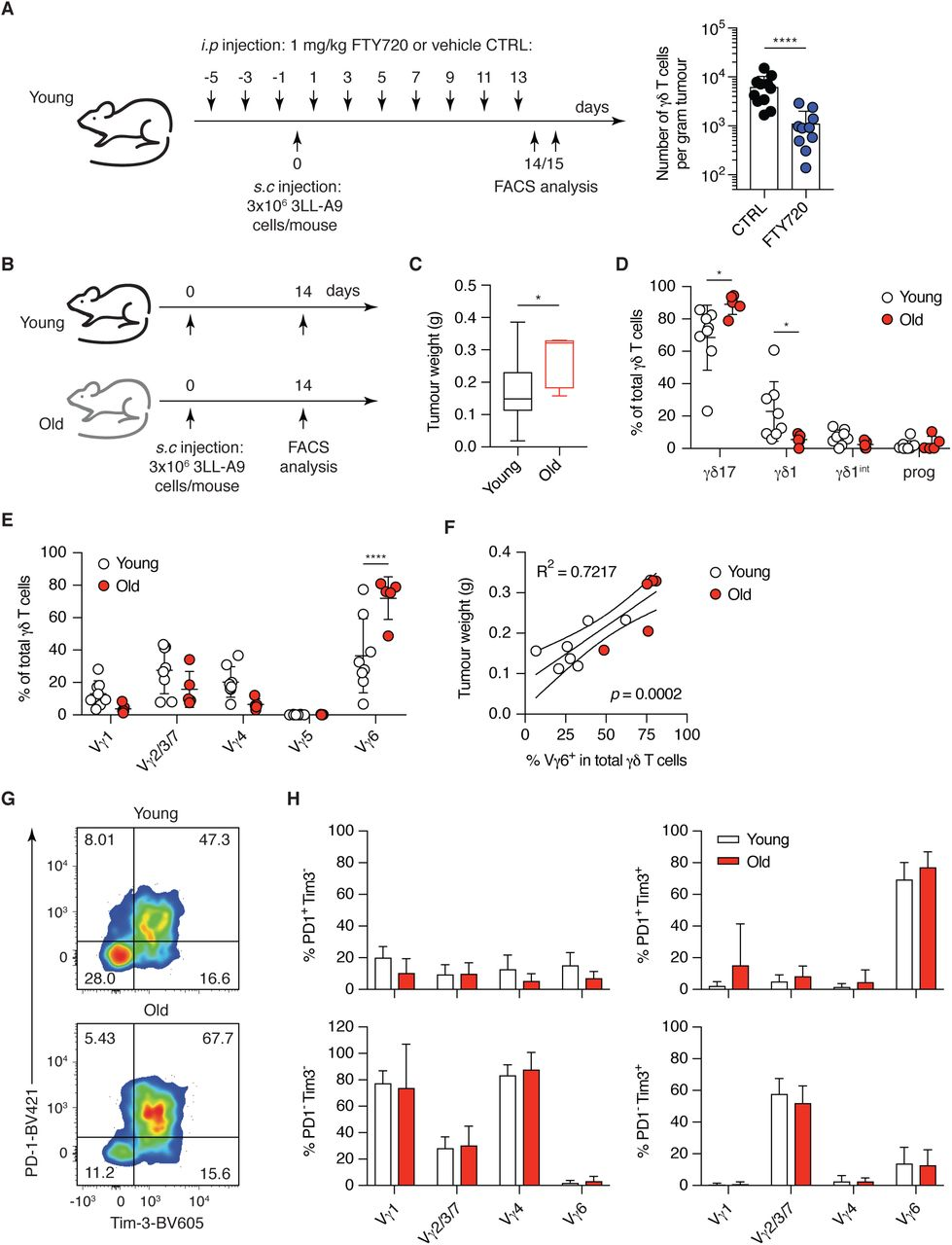Altered composition of the γδ T cell pool in lymph nodes