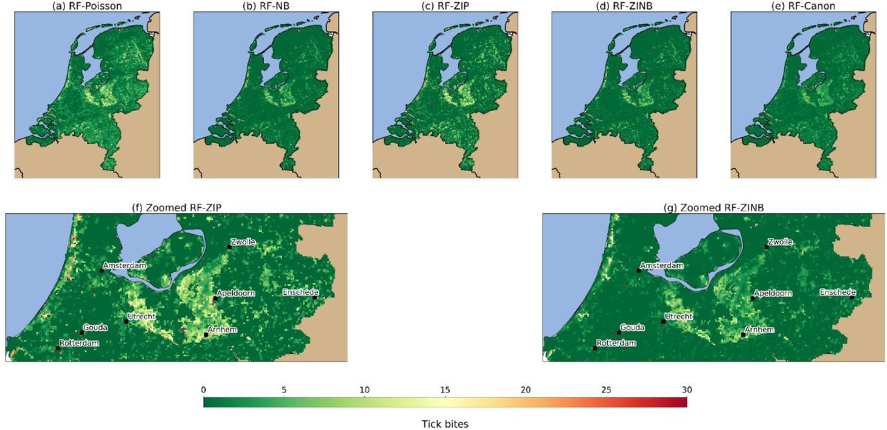 Modelling tick bite risk by combining random forests and