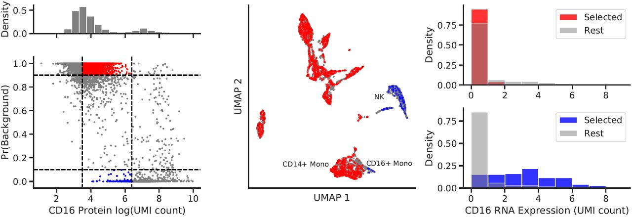 CD4 Protein disentanglement in PBMC10k. (Left) Distribution of log counts for CD4 protein. (Right) projected on UMAP.