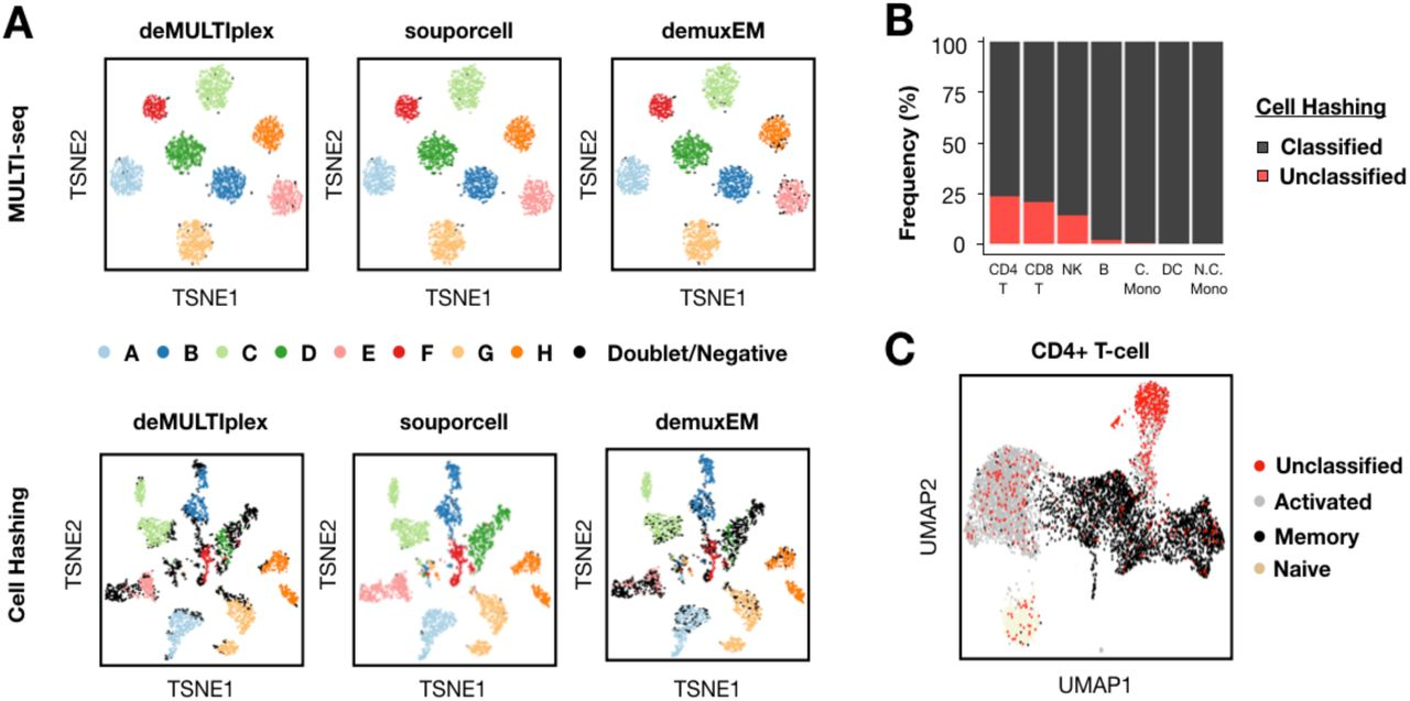 MULTI-seq and SCMK classifications largely match in silico genotyping, with lower SCMK classification efficiency and bias against activated CD4+ T-cells. (A) Sample classification results from three demultiplexing pipelines (e.g., deMULTIplex, souporcell, and demuxEM) projected onto MULTI-seq (top) and SCMK (bottom) sample barcode space. n = 4,032 cells from microfluidic lane #3. (B) Frequencies of classified and unclassified cells across all PBMC cell types following SCMK sample demultiplexing. (C) Localization of SCMK unclassified cells in CD4+ T-cell gene expression space. n = 6,879 CD4+ T-cells.