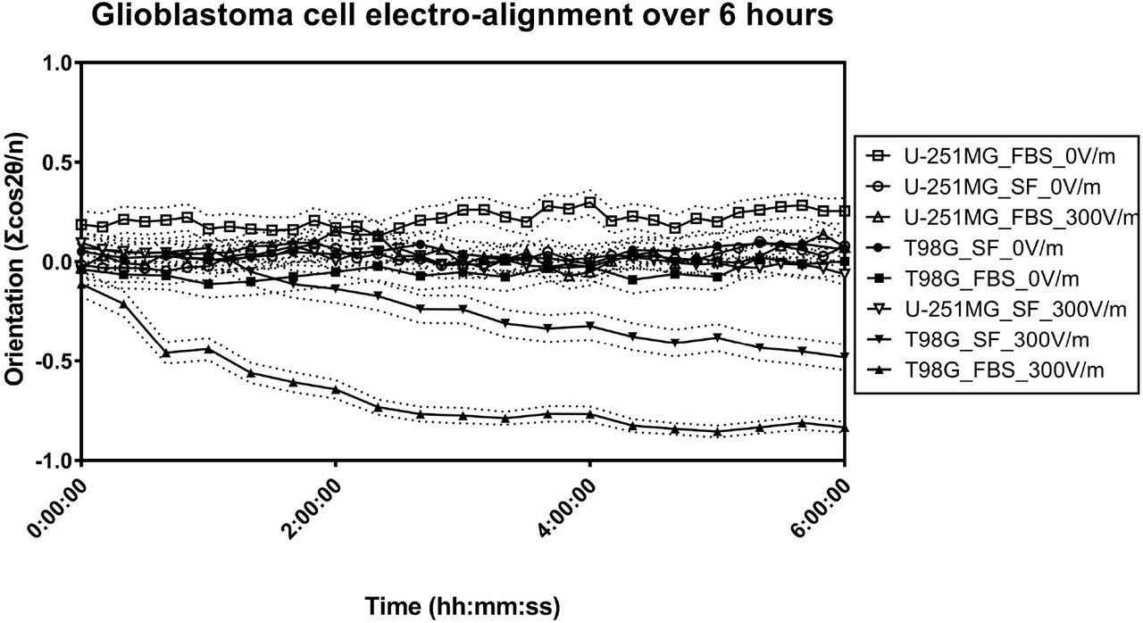 Time series plot of orientation in electrically stimulated glioblastoma cells. T98G cell results are indicated in closed symbols. U-251MG cell results are indicated in open symbols. Only T98G cells demonstrate prominent perpendicular alignment after electrical stimulation. The dashed lines indicate the 95% confidence interval for respective groups.