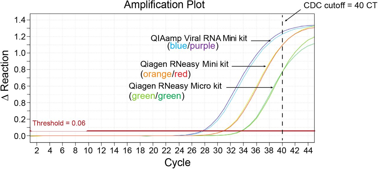 """SARS-CoV-2 RNA can be detected from COVID-19 patient nasopharyngeal swabs by RT-qPCR without an RNA extraction step ( a ) Nasopharyngeal (NP) swab diluents from two confirmed COVID-19 patients were pooled, and using the 2019-nCoV_N3 primer/probe set, the mixture was either i) subjected to RNA extraction using the Qiagen QIAamp Viral RNA Mini kit followed by subsequent testing by RT-qPCR (using the equivalent of 11.3 ul swab diluent) or ii) directly added to the RT-qPCR reaction, with or without a preheating step (five minutes at 70°C, """"NP sample + heat""""). As a control, the indicated quantities of the CDC 2019-nCoV Positive Control SARS-CoV-2 synthetic RNA was spiked into M6 transport media, purified using the QIAamp Viral RNA Mini kit, and screened by RT-qPCR. NP swab samples from seven additional donors were screened by direct RT-qPCR for SARS-CoV-2 RNA using ( b ) the 2019-nCoV_N1 primer/probe set, ( c ) the 2019-nCoV_N2 primer/probe set, or ( d ) for human RNase P RNA using the RP primer probe set. NP swab samples from donors 1 – 4 were previously shown to contain SARS-CoV-2 RNA by standard clinical RT-qPCR, while donors 5 – 7 were negative. For each primer/probe set, 7 µL ( a ) or 3 µL ( b, c, d ) of NP swab diluent was tested in the RT-qPCR reaction per donor. For the N1 and N2 primer probe sets, the fully synthetic SARS-CoV-2 RNA Control 2 from Twist Bioscience was loaded at serial 10-fold dilutions (A, 3×10 6 copies; B, 3×10 5 copies; C, 3×10 4 copies; D, 3×10 3 copies; E, 3×10 2 copies; F, 3×10 1 copies) as indicated in panels b and c . No template control (NTC) wells were included for each primer/probe set and each was negative. For panels b and c , the correlation coefficients (R 2 ) of the standard curves were 0.999 and 0.995, respectively. The dashed line at cycle 40 in each graph indicates the limit of detection."""