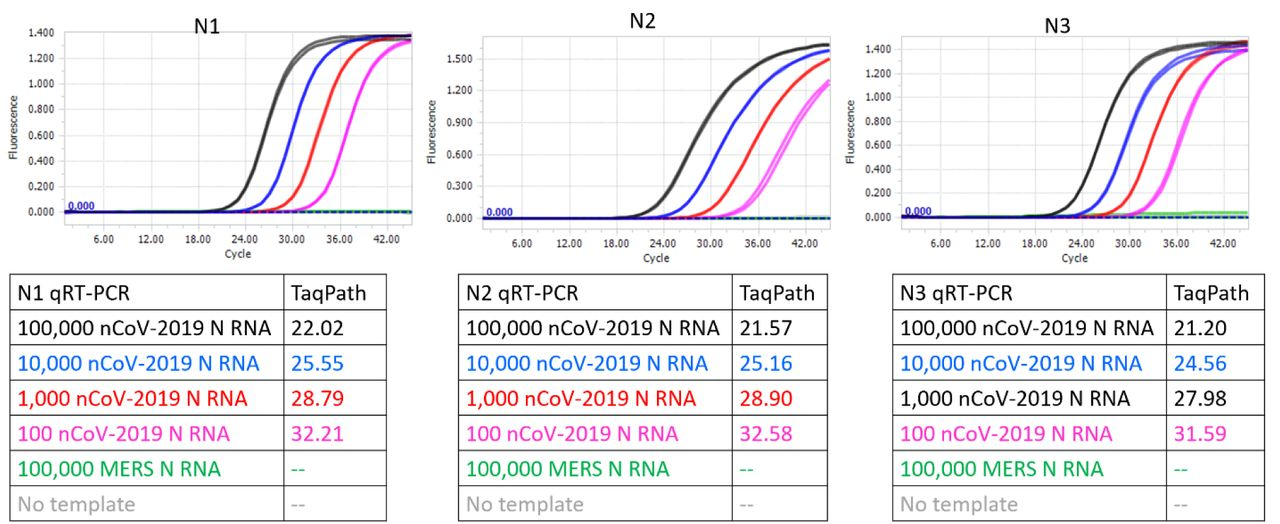 CDC SARS-CoV-2 N1, N2, and N3 TaqMan qRT-PCR assays performed using indicated copies of synthetic RNA and TaqPath™ commercial qRT-PCR mastermix. Amplification curves from reactions containing 100,000 (black traces), 10,000 (blue traces), 1,000 (red traces), and 100 (pink traces) copies of SARS-CoV-2 synthetic N RNA are depicted. Negative control reactions either contained no templates (gray traces) or contained 100,000 copies of synthetic N RNA from MERS-CoV (green traces). Cq values of all assays are tabulated.