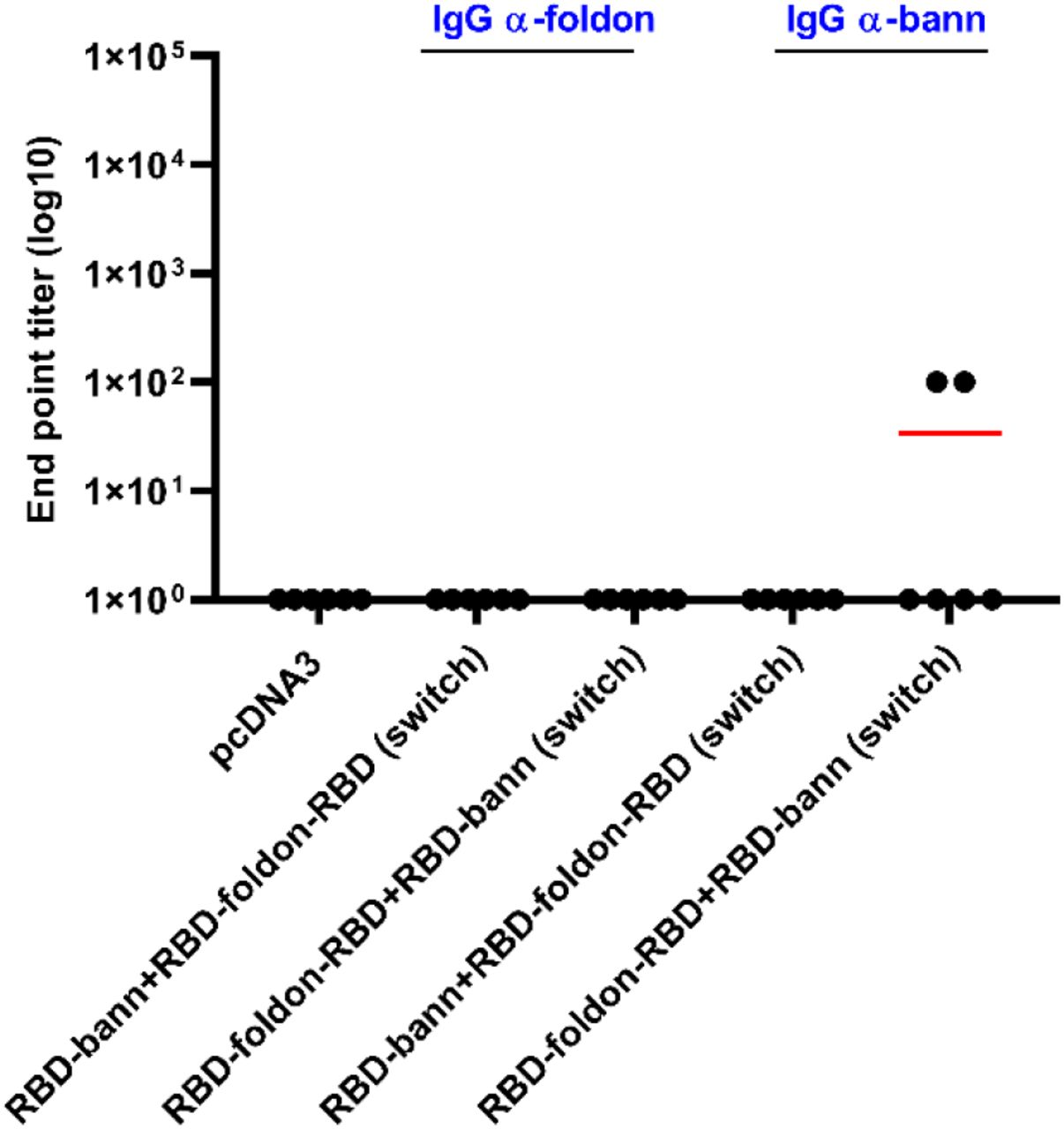 Total IgG against scaffold in mice that underwent switch immunization. Mice were immunized with combinations of differently scaffolded RBD plasmid DNA (β-annulus and foldon) for prime and boost immunization and vice versa. Titers of antibodies against scaffold (depicted in blue) after prime and boost were determined via ELISA. Graphs represent mean of EPT of group of mice (n=6 per group). Each dot represents an individual animal.