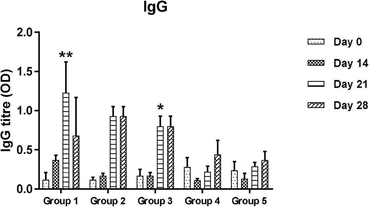 Effect of HBsAg-Chitin formulation on IgG1 titre of Mice Sera. (Results are expressed as mean + SD (n= 3). Values with **, * are significant atp